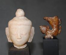 A White Marble Buddha Head, Burma, 18th Century; together with a small Chinese Stone Figure, [2],