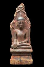 A Large Wood & Lacquer Buddha, Shan State, Burma, 18th Century,
