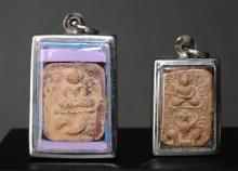 Two Small Thai Ayutthaya Period Clay Votives, 17th Century, [2],