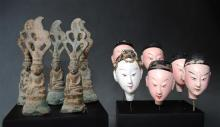 Five Small Bronze Buddha's on stand; together with Six Clay Puppet Heads, [11],
