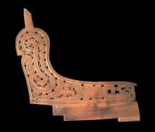 Two finely Carved Massim Canoe Wave Splitters, [2],