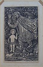 Josef Werner (20th Century) German Untitled (The Christ Child) 1966 Woodcut