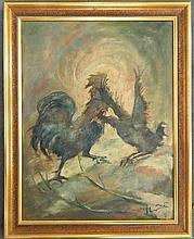 Artist Unknown  The Cock Fight Oil on canvas on board