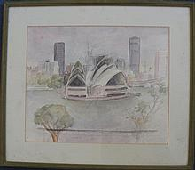 Artist Unknown  Sydney Opera House Watercolour