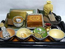 A collection of decorative items including bamboo tray, hand painted wooded ducks, bowls and pictures