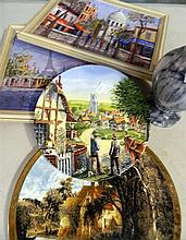 A collection of two ceramic plates, two framed oils and a marble vase