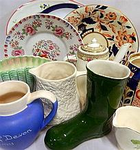 A collection of ceramics including antique