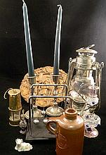 Odds and ends collection. including a timber Wall plaque, silver plate candlesticks, lantern , stoneware bottle.