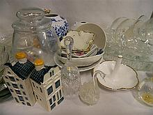 A collection of glass and ceramics including a Royal Albert ring stand
