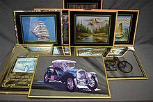 A collection of four motoring related mirrors and five other pictures