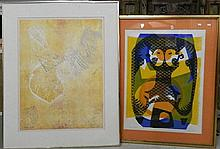 Veda Ainsworth, Birds with Blue silkscreen + C Colberg Abstract print (2)