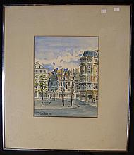 Harry P Merlhow, Street Scene Paris 1977, watercolour, signed and dated lower left