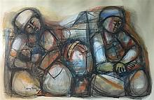Godfrey Ndaba (b. 1947) Two Women and a Baby 1982 Pastel and Charcoal