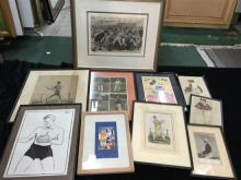 10 various Sporting prints & drawing by George Finey, including racing, boxing, tennis & rugby