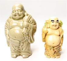 Two Very Happy Fat Buddha's with Large Sacks of Treasure,