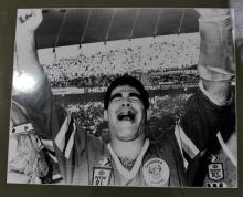 A 1989 Black & White Photograph of Mal Meninga, Canberra, post grand final;
