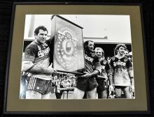 A 1986 Black & White Photograph of Parramatta's - Cronin, Sterling, Price & Kenny post Grand Final;