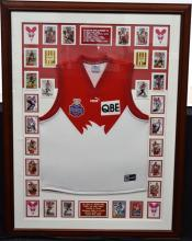 A Sydney Swans 2005 Premiership Team Jersey and Signed Player Cards;