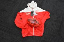 An Original AFL Sherrin Football, signed by the Swans 2015 with;