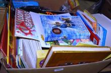 A box of assorted childrens books