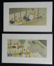A pair of Japanese Scenes depicting Kyoto Castle