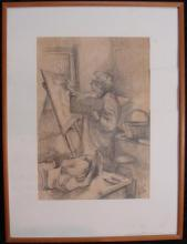 Georgina Worth (act. 1970s-1980s) Study of Enid 1977 + Study of Enid 1979 (possibly Enid Cambridge) (2) Pencil on paper & charcoal o...