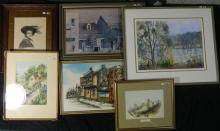 5 various watercolours & prints all framed
