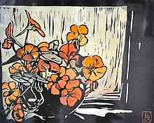 Margaret Rhodes (working 1950's - 1980's) New Zealand Floral Still Life coloured woodblock