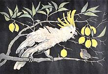 Ridley Walker White Cockatoo coloured linocut