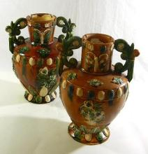 A Pair of Chinese Sancai Glaze Pottery Vases,