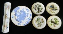 A set of four Coleport dishes, together with a Limoges tray and Wedgwood plate