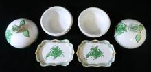 Two Herend porcelain lidded trinket boxes, together with two matching pin dishes