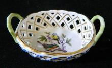 A small Herend porcelain basket