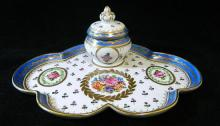 A Dresden porcelain hand-painted inkwell