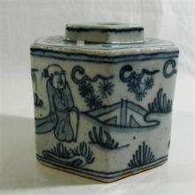 A Chinese Blue and White Octagonal Pot