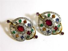 A Pair of Sterling Silver Ruby, Emerald, Sapphire, Citrine and Diamond Earrings.