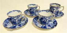 A Royal Crown Derby 'Mikado' set of three demitasse, with one other Royal Crown Derby demitasse with a later date