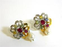 A Pair of Sterling Silver Ruby, Sapphire, Peridot, Pearl and Diamond Earrings