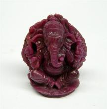 A Natural Ruby Statue of Ganesh