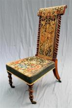 A circa 1870's Prei dieu high-back chair with the original tapestry