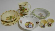 A Royal Doulton Bunnykin's children's plate, bowls, mugs and egg cups