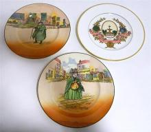 Two Royal Doulton cabinet plates, together with a Wedgwood commemorative plate