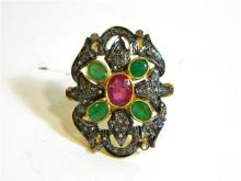 A Sterling Silver and Gilt Emerald, Ruby and Diamond Ring