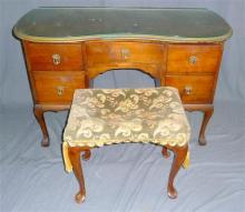 A maple dressing table and matching stool