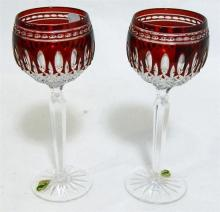A pair of Waterford crystal ruby-cased hock glasses