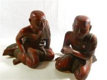 A Pair of Burmese Seated Monks,
