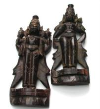 A Pair of Carved Wooden South Indian Deities, early 20th Century,