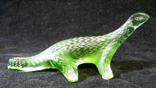 A Lalique green glass model of a Salamander