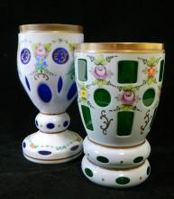Two Bohemia hand-painted blue and green cased glasses
