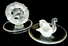 Two Lalique ring dishes, one with swan and the other with dove